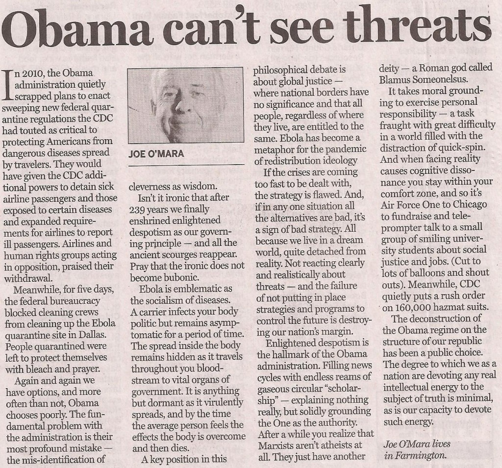 Joe OMara on Obama cant see threats